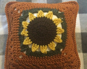 Perfect for FALL Decorating - Crochet Sunflower Pillow
