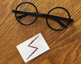 Finish your Halloween Costume of your favorite character - Black Round Glasses and a Lightening Bolt Tattoo