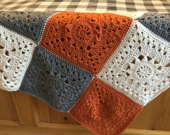 Gorgeous FALL Granny Square Blanket Throw in Grey, Pumpkin and Ivory Cream