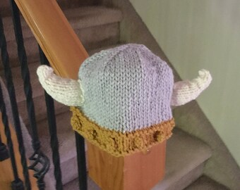 Adorable Knit Viking Hat in Gold and Grey