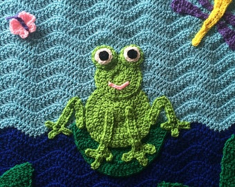 Adorable Frog in a Pond Crochet Baby Blanket with Lily Pads, Dragonfly and Butterfly