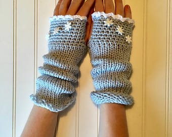 Snowflake Mitts - Fingerless Gloves in Light Ice Blue with White Ruffle and Snowflake Buttons