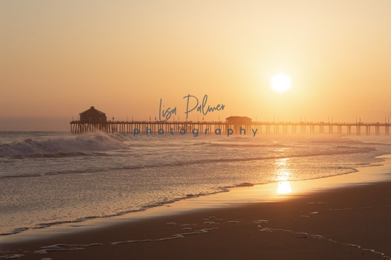 Sunset Huntington Beach California Pier Ocean Photography Etsy