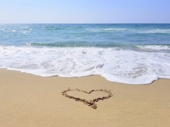 Hart getekend in het zand blauwe hemel strand oceaan decor etsy