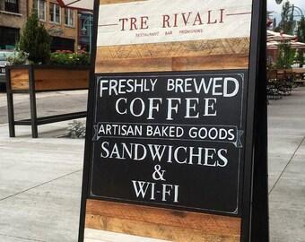 Custom Sandwich Board Sign . Reclaimed Wood . Event Sign . Restaurant Sidewalk Chalkboard . Outdoor Sign . A Frame Sign