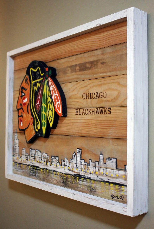 free shipping 88686 94a09 Reclaimed Wood Chicago Blackhawks Sign . NHL . Handmade . Hockey . Wall  Decor . Blackhawks Wall Hanging . Wooden Sign . Rustic. Chicago Sign