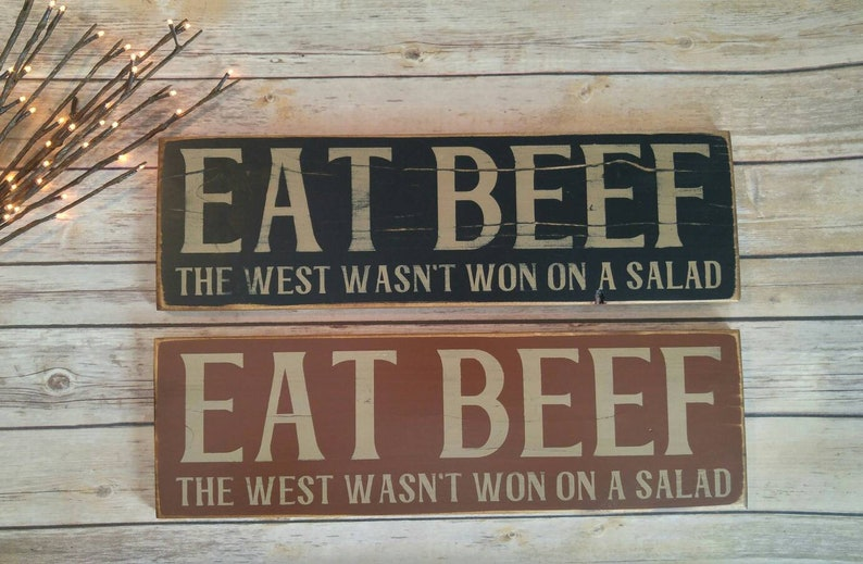 eat beef sign cattle sign rustic rancher sign man cave cow | etsy