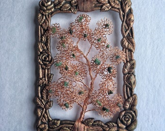Framed Tree of Life with Emerald chips