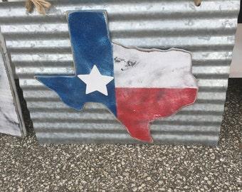 Texas flag on metal