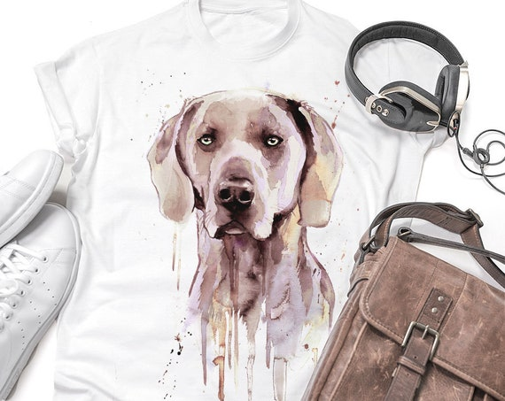 Weimaraner T-shirt, Unisex T-shirt, ring spun Cotton 100%, watercolor print T-shirt, T shirt art, T shirt animal,XS, S, M, L, XL, XXL