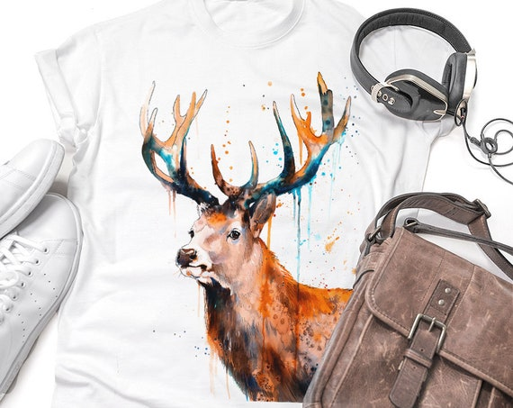 Red deer Stag watercolor ladies' T-shirt, women's tees, Teen Clothing, Girls' Clothing, ring spun Cotton 100%, watercolor print
