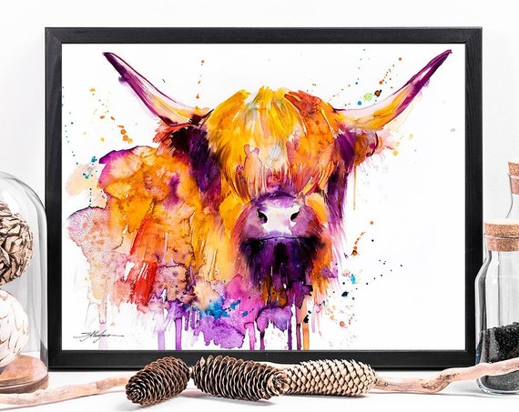 Highland Cow watercolor framed canvas by Slaveika Aladjova, Limited edition, art, animal watercolor, animal illustration, large print