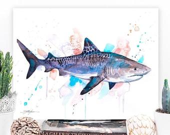 Tiger shark watercolor painting print by Slaveika Aladjova, art, animal, illustration, Sea art, sea life art, home decor, Wall art