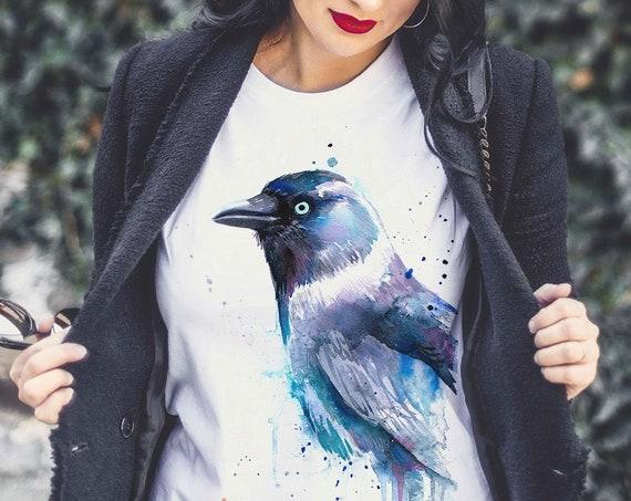 Jackdaw T-shirt, Unisex T-shirt, ring spun Cotton 100%, watercolor print T-shirt, T shirt art, T shirt animal,XS, S, M, L, XL, XXL
