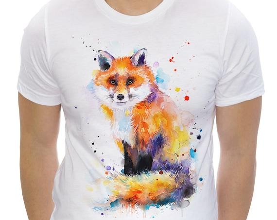 Fox T-shirt, Unisex T-shirt, ring spun Cotton 100%, watercolor print T-shirt, T shirt art, T shirt animal, XS, S, M, L, XL, XXL