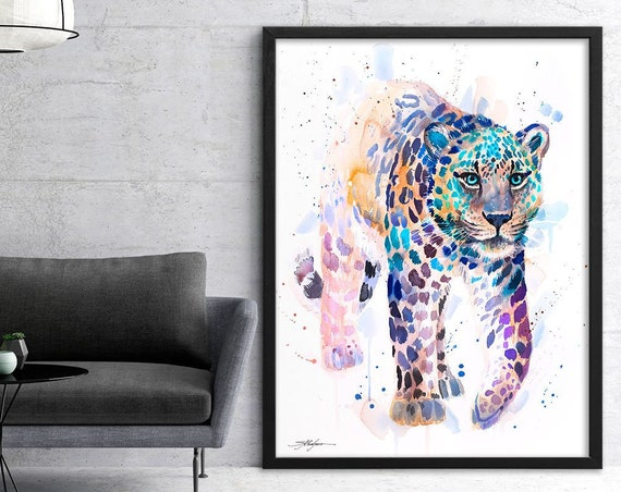 Amur leopard watercolor framed canvas by Slaveika Aladjova, Limited edition, art, animal watercolor, animal illustration,