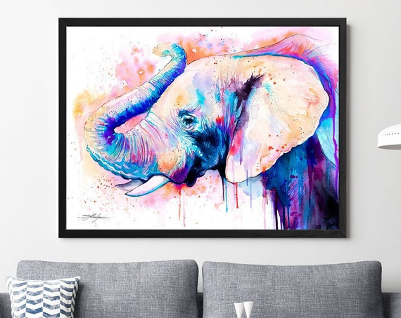 Pink Elephant Head watercolor framed canvas by Slaveika Aladjova, Limited edition, art, animal watercolor, animal illustration,bird art