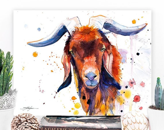 Red goat watercolor painting print by Slaveika Aladjova, large art, animal, illustration, home decor, Nursery, gift, Wildlife, wall art