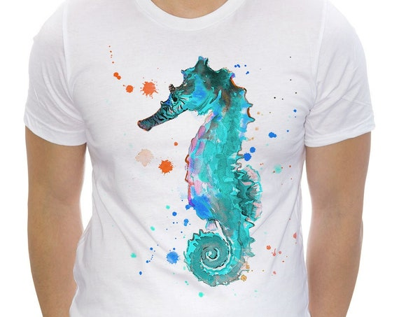 Blue Seahorse T-shirt, Unisex T-shirt, ring spun Cotton 100%, watercolor print T-shirt, T shirt art, T shirt animal,XS, S, M, L, XL, XXL