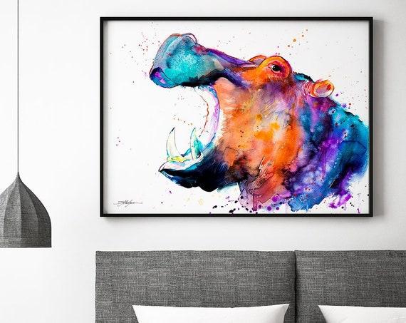 Hippo  watercolor framed canvas by Slaveika Aladjova, Limited edition, art, animal watercolor, animal illustration,