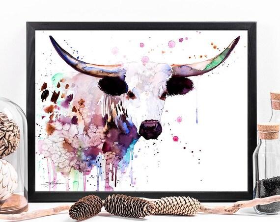 Longhorn watercolor framed canvas by Slaveika Aladjova, Limited edition, art, animal watercolor, animal illustration,