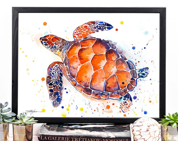 Hawksbill sea turtle watercolor framed canvas by Slaveika Aladjova, Limited edition, animal, illustration, large canvas, wall art