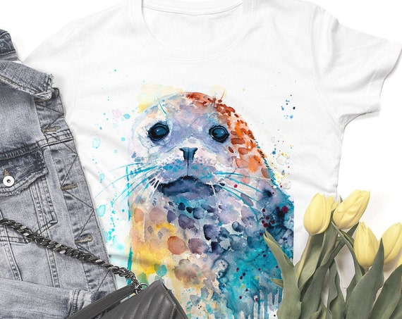 Harbor seal T-shirt, Unisex T-shirt, ring spun Cotton 100%, watercolor print T-shirt,T shirt art,T shirt animal, XS, S, M, L, XL, XXL