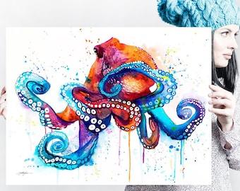 Octopus watercolor painting print by Slaveika Aladjova, art, animal, illustration, Sea art, sea life art, home decor, extra large print