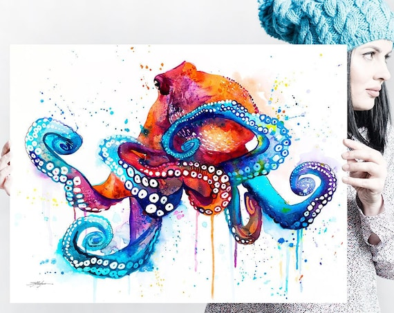 Octopus watercolor painting print by Slaveika Aladjova, art, animal, illustration, Sea art, sea life art, home decor, extra large print
