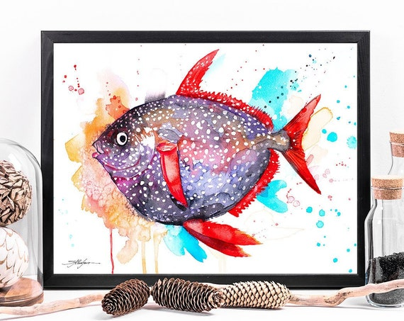 Opah Moonfish Sunfish watercolor framed canvas by Slaveika Aladjova, Limited edition, art, animal watercolor, animal illustration,bird art