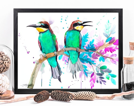 Bee-eater watercolor framed canvas by Slaveika Aladjova, Limited edition, art, animal watercolor, animal illustration, art