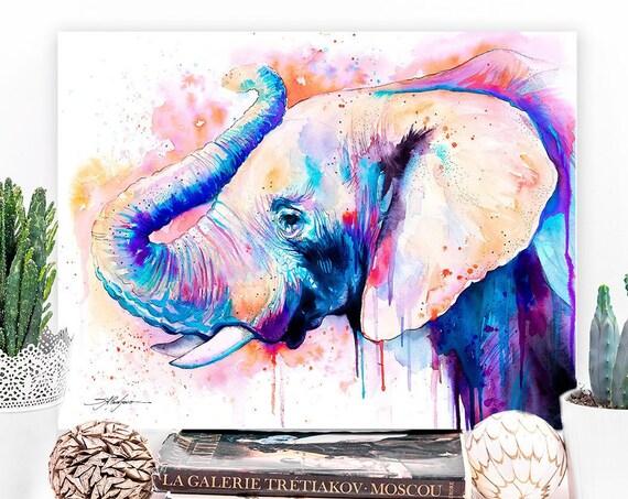 Pink Elephant Head watercolor painting print by Slaveika Aladjova, art, animal, illustration, bird, home decor, Nursery, African, Wildlife