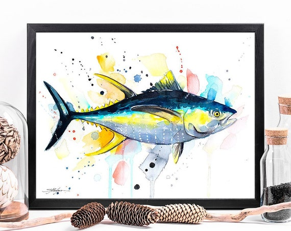Yellowfin tuna watercolor framed canvas by Slaveika Aladjova, Limited edition, animal watercolor, animal illustration, extra large print