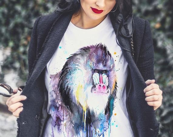 Mandrill T-shirt, Unisex T-shirt, ring spun Cotton 100%, watercolor print T-shirt, T shirt art, T shirt animal, XS, S, M, L, XL