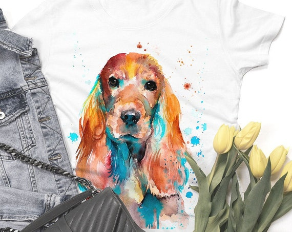 English Cocker Spaniel T-shirt, Unisex T-shirt, ring spun Cotton 100%, watercolor print T-shirt, T shirt art, T shirt XS, S, M, L, XL, XXL