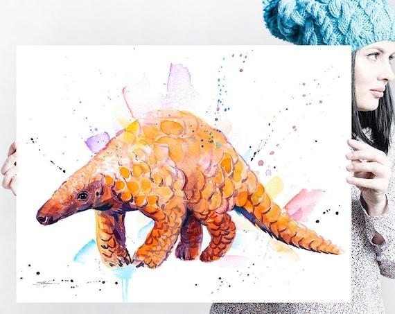 Indian Pangolin watercolor painting print by Slaveika Aladjova, art, animal, illustration, home decor, wall art, gift, portrait,Contemporary