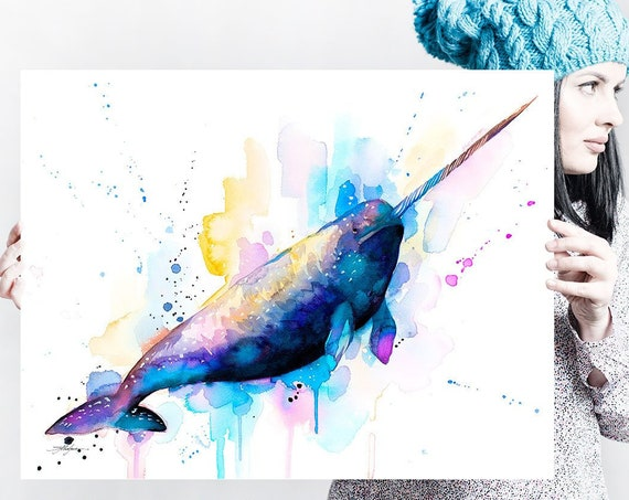 Narwhal watercolor painting print by Slaveika Aladjova, art, animal, illustration, Sea art, sea life art, home decor, Wall art