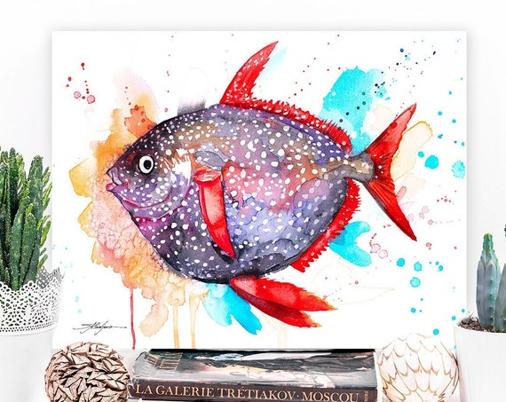 Opah Moonfish Sunfish watercolor painting print by Slaveika Aladjova, art, animal, illustration, Sea art, sea life, nautical, ocean art,Fish