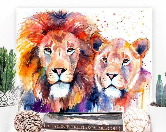 Lion Lioness Love watercolor painting print by Slaveika Aladjova, art, animal, illustration, home decor, Nursery, gift, Wildlife, wall art,