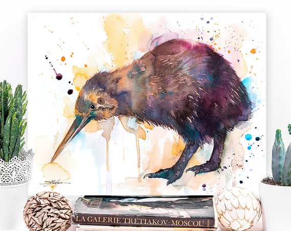 Kiwi watercolor painting print by Slaveika Aladjova, extra large canvas, art, animal, illustration, home decor, Wildlife, Contemporary,