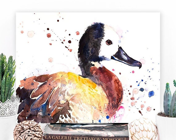 White-faced whistling duck watercolor painting print by Slaveika Aladjova, art, animal, illustration, bird, home decor, wall art, gift, farm