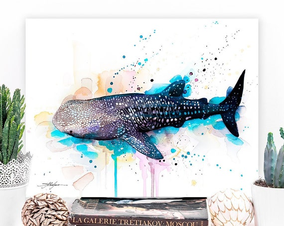 Whale shark watercolor painting print by Slaveika Aladjova, art, animal, illustration, Sea art, sea life, home decor, Wall art, large print