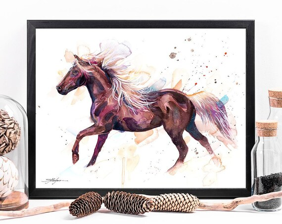 Rocky Mountain Horse watercolor framed canvas by Slaveika Aladjova, Limited edition, art, animal watercolor, animal illustration,bird art