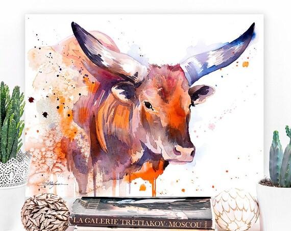 Ankole-Watusi, Sanga cattle, Longhorn watercolor painting print by Slaveika Aladjova, art, animal, illustration, home decor, Nursery, gift,