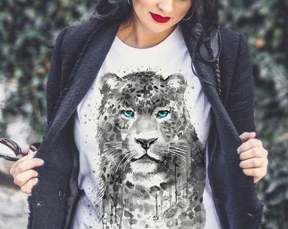 Black and white Panther Leopard Jaguar T-shirt, Panther unisex T-shirt, Unisex tees, Big cats Lover Gift,  ring spun Cotton 100%,