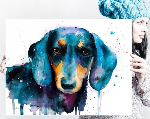 Black Dachshund watercolor painting print by Slaveika Aladjova, animal, illustration, home decor, Nursery, Contemporary, dog art, wall art