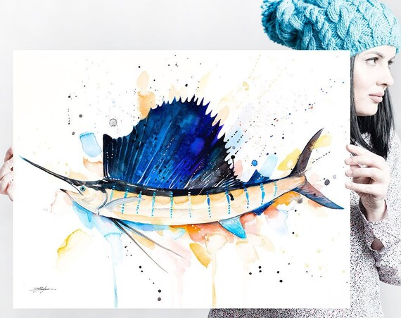 Atlantic sailfish watercolor painting print by Slaveika Aladjova, art, animal, illustration, Sea art, sea life art, home decor, Wall art
