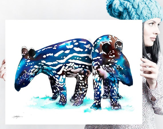 Baby tapir watercolor painting print by Slaveika Aladjova, art, animal, illustration, home decor, wall art, gift, portrait, Contemporary
