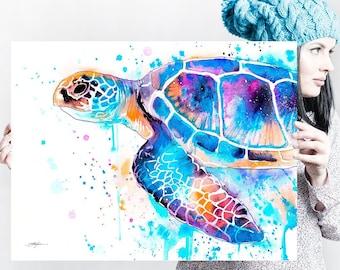 Blue Sea turtle watercolor painting print by Slaveika Aladjova, art, animal, illustration, Sea art, sea life art, home decor, Wall art