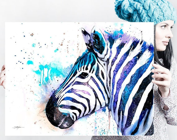 Zebra watercolor painting print by Slaveika Aladjova, Wild boar, home decor, wall art, gift, portrait, Contemporary, extra large print